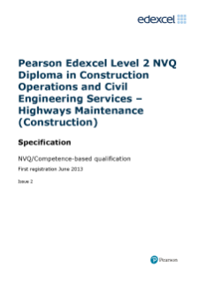 Specification,Edexcel NVQ Competence-based qualification/s 2014