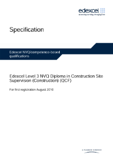 Specification - NVQ Level 3 Diploma in Construction Site Supervision (Construction)