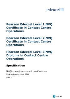 Pearson Edexcel Level 2 NVQ Certificate in Contact Centre Operations