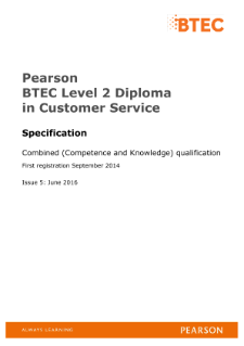 Pearson BTEC Level 2 Diploma in Customer Service (QCF)