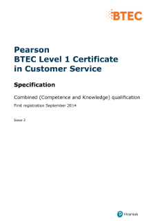 Pearson BTEC Level 1 Certificate in Customer Service specification