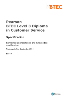 Specification - BTEC Level 3 Diploma in Customer Service