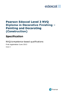 Specification - Level 3 NVQ Diploma in Decorative Finishing - Painting and Decorating (Construction)