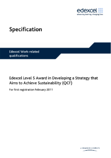 Competence-based qualification Award in Developing a Strategy that Aims to Achieve Sustainability (L5) specification