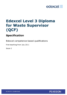 Competence-based qualification Diploma for Waste Supervisor (L3) specification