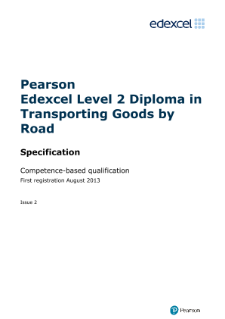 Edexcel Level 2 Diploma in Transporting Goods by Road specification