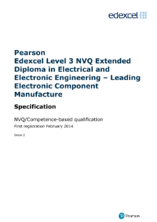 Competence-based qualification in Electrical and Electronic Engineering - Leading Electronic Component Manufacture (L3) specification