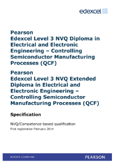 Competence-based qualification in Electrical and Electronic Engineering - Controlling Semiconductor and Manufacturing Processes (L3) specification