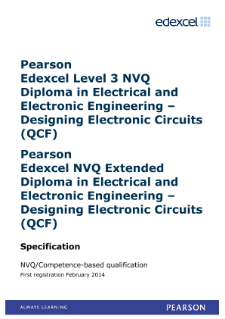Competence-based qualification in Electrical and Electronic Engineering - Designing Electronic Circuits (L3) specification