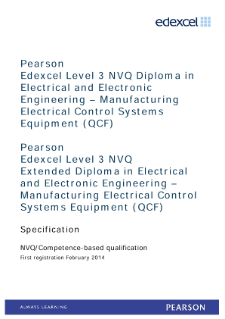 Competence-based qualification in Electrical and Electronic Engineering - Manufacturing Electrical Control Systems Equipment (L3) specification