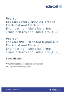 Competence-based qualification in Electrical and Electronic Engineering - Manufacturing Transformers and Inductors (L3) specification