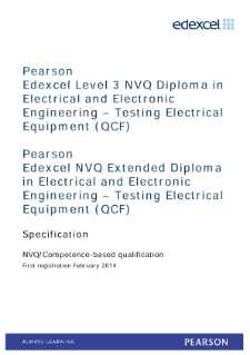 Competence-based qualification in Electrical and Electrical and Electronic Engineering - Testing Electrical Equipment (L3) specification