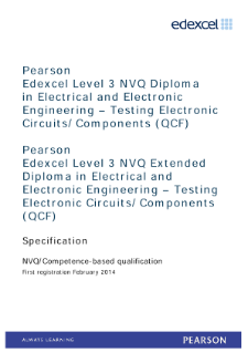 Competence-based qualification in Electrical and Electronic Engineering - Testing Electronic Circuits/Components (L3) specification
