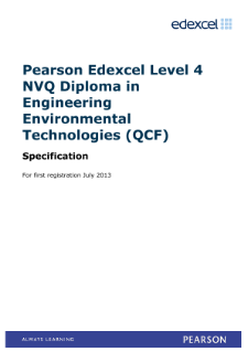 Specification - NVQ Level 4 Diploma in Engineering Environmental Technologies