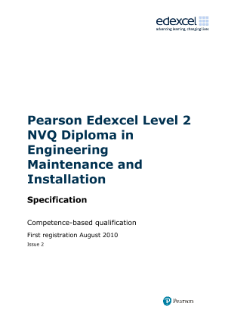 Specification - Diploma in Engineering Maintenance and Installation - NVQ Level 2