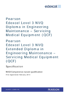Competence-based qualification in Engineering Maintenance - Servicing Medical Equipment (L3) specification
