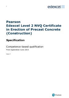 Edexcel Level 2 NVQ Certificate in Erection of Precast Concrete (Construction) (QCF) specification