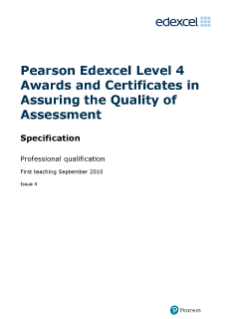 Level 4 Awards and Certificates in Assuring the Quality of Assessment