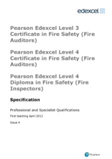 BTEC Level 4 Certificate in Fire Safety (Fire Auditors) specification