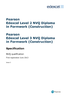 Pearson Edexcel NVQ Diploma in Formwork (Construction) specification