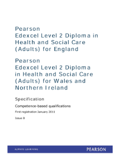 Pearson Edexcel Level 2 Diploma in Health and Social Care (Adults) for England (QCF)