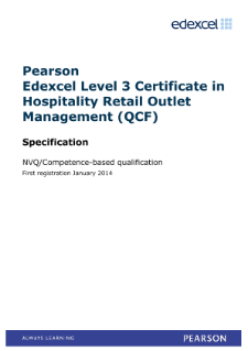 Competence-based qualification Certificate in Hospitality Retail Outlet Management (L3) specification