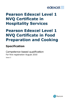NVQ Certificate in Hospitality Services (L1) specification