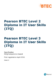Pearson BTEC Level 2 Diploma in IT User Skills specification