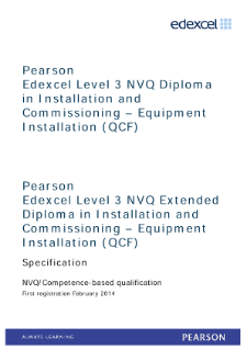 Pearson Edexcel Level 3 NVQ Extended Diploma in Installation and Commissioning (QCF) - Pathway 1