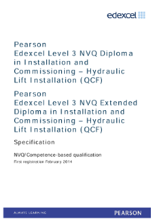 Competence-based qualification in Installation and Commissioning - Hydraulic Lift Installation (L3) specification