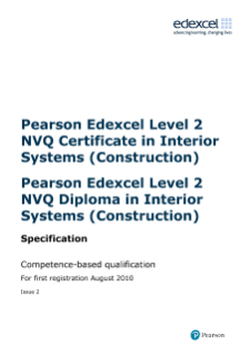 Pearson Edexcel Level 2 NVQ Certificate in Interior Systems (Construction) (QCF)