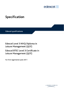 BTEC Level 2 Certificate in Leisure Management specification