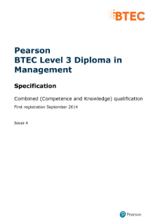 Pearson BTEC Level 3 Diploma in Management