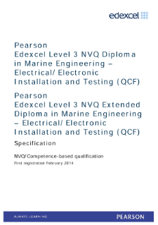 Competence-based qualification in Marine Engineering - Electrical/Electronic Installation and Testing (L3) specification