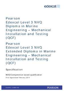 Competence-based qualification in Marine Engineering - Mechanical Installation and Testing (L3) specification