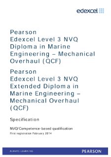Competence-based qualification in Marine Engineering - Mechanical Overhaul (L3) specification
