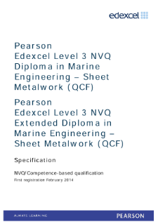 Competence-based qualification in Marine Engineering - Sheet Metalwork (L3) specification