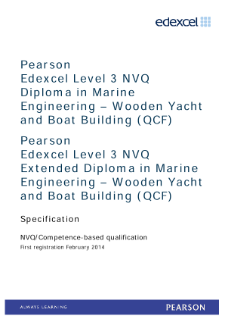 Competence-based qualification in Marine Engineering - Wooden Yacht and Boat Building (L3) specification