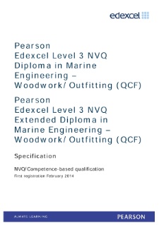 Competence-based qualification in Marine Engineering - Woodwork Outfitting (L3) specification