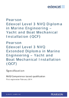 Competence-based qualification in Marine Engineering - Yacht and Boat Mechanical Installation (L3) specification