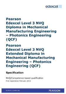 Competence-based qualification in Mechanical Manufacturing Engineering - Photonics Engineering (L3) specification