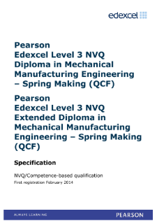 Competence-based qualification in Mechanical Manufacturing Engineering - Spring Making (L3) specification