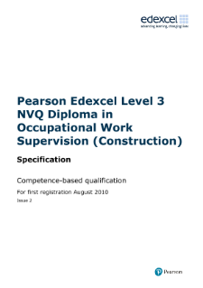 NVQ Diploma in Occupational Work Supervision (Construction) (L3) specification