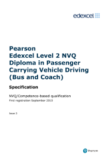 NVQ Diploma in Passenger Carrying Vehicle Driving (Bus and Coach) (L2) specification