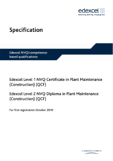 NVQ Certificate in Plant Maintenance (L1) Construction specification