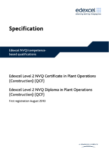 Pearson Edexcel Level 2 NVQ Certificate in Plant Operations (Construction) specification