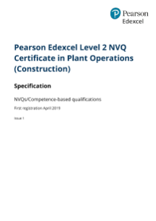 Edexcel Level 2 NVQ Certificate in Plant Operations (2019)