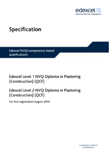 Specification - Edexcel Level 2 NVQ Diploma in Plastering (Construction) (QCF)