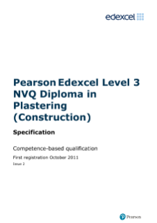 NVQ Diploma in Plastering (Construction) (L3) specification