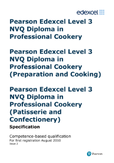NVQ Diploma in Professional Cookery (L3) specification